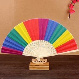 Wholesale Colorful Favors - New Arrival Chinese Style Colorful Rainbow Folding Hand Fan Party Favors Wedding Souvenirs Giveaway For Guest
