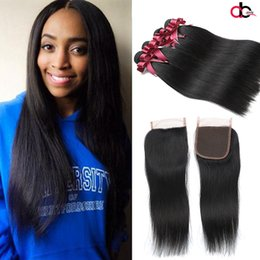 Wholesale Nature Pcs - Peruvian Straight Virgin Hair 4 PCS With 4x4 Lace Closure 100% Human Hair Bundle With Closure Nature Color Brazilian Malaysian Indian Hair