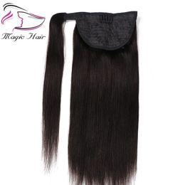 extensión de pelo de cola de caballo 26 Rebajas Evermagic Ponytail Cabello humano Remy Straight European Ponytail Hairstyle 100g Clip de cabello 100% natural en extensiones