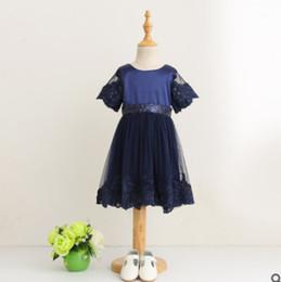 Wholesale Short Dresses Glitter - Baby Girls lace gauze dress glitter children sequins Bows party dress kids lace embroidery princess dress girl lace tulle tutu dresses R1967