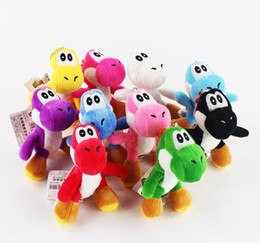 "Wholesale Dinosaur Plush - Super Mario Bros Yoshi Dinosaur Dragon Colorful Plush Toy Pendants with Keychains Stuffed Dolls (10pcs Lot ,4"" 10cm )"