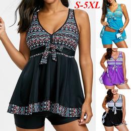 Wholesale fashion tankini swimwear - Women's Fashion Tankini Swimsuit V-neck Sexy Two Piece Set Swimwear