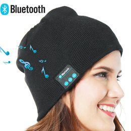 chapéus de inverno chapéus Desconto Chapéu Música Bluetooth Sem Fio Inteligente Fone de Ouvido Cap Fone De Ouvido Microfone de Inverno Música Chapéu Ao Ar Livre Quente Crochet Gorros Caps YFA409