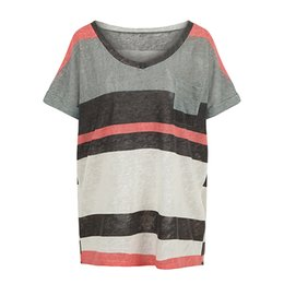 fea06a5c420 2018 Summer New Women Loose T-Shirt Striped Short Sleeves V Neck Pocket Elegant  Casual Top Pullover Grey 5XL Oversized T shirt