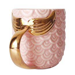 2019 nuevos regalos 420 ml 14 OZ Pink Blue Mermaid Mug con Gold Fish Tail Handle Novel Coffee Milk Mug Artículos para beber Regalo de boda DEC443 nuevos regalos baratos