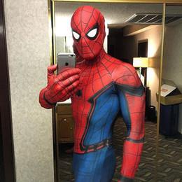 Roupa de aranha on-line-Novo Homem Aranha Traje Homecoming Homem Aranha 3D Impresso Cosplay Terno Zentai Spider-Man Cosplay Roupas