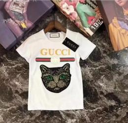 Mode été garçons filles vêtements enfants designer t-shirt à manches courtes enfants imprimer chat chemise tops tees garçon 3-7 ans ? partir de fabricateur