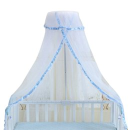 Wholesale Canopies For Beds - Crib Netting for Babies Round Lace Princess Dome Bed Canopy Summer Infant Children Bedding Mosquito Net for Baby Sleeping