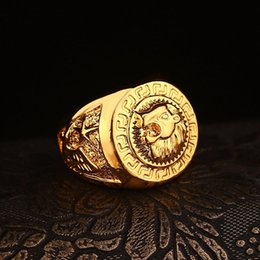 Wholesale Lion Rings Women - 2018 Hip hop Men's Rings Jewelry Free Masonic 24k gold Lion Medallion Head Finger Ring for men women HQ
