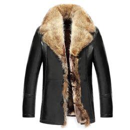 ropa de hombre Rebajas Chaquetas de lujo Hombre de piel de mapache Natural Chaqueta de cuero Chaqueta de capucha Cazadora de mediana edad Hombres Papá Outwear Overcoat Snow Wear 5XL