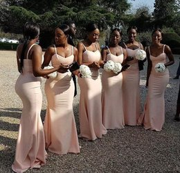Wholesale Best Sell Wedding Dresses - 2018 Best Selling Spaghetti Strap Long Mermaid Bridesmaid Dresses Satin Zipper Back Floor Length African Wedding Party Dresses Custom Made