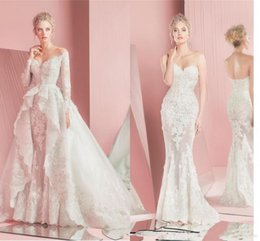 Wholesale Zuhair Murad Modest Gowns - Modest Zuhair Murad Detachable Wedding Dresses with Lace Long Sleeves Fitted Sweetheart Applique Beach Plus Size Bridal Gowns Vintage