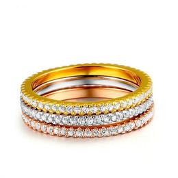 Rosa amarilla conjuntos de joyas online-Concisa Clásica Mini CZ Diamod 3 Color Yellow Rose anillo de color blanco Joyas de la boda del partido para las mujeres regalo