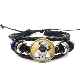 Горячая Распродажа! 12 шт. старинные черный кожаный браслет Мопс в чашке чая собака стекло кабошон ткать многослойные ткать браслет женщины мужчины ювелирные изделия от