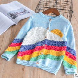 Wholesale Plush Cardigan - Spring Girls plush rainbow knited cardigan 2018 New children round collar long sleeve tops kids contrast colors princess outwear R2128