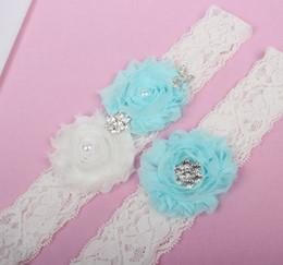 Wholesale Lace Garter Stockings - 2pcs Set Crystal Beads Lace Bridal Garters For Wedding Garters In Stock Handmade Flowers Bride Leg Garters Cheap