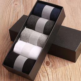 Wholesale plain black socks - Business Men Socks Harajuku Calcetines Hombre Plain Classic Sock Men Breathable Solid Cotton Socks 10pcs =5pair Per Lot No Box