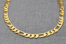 """Wholesale 24k pure gold pendant - pure gold color men chain necklace jewelry,plated 24k Gold 10mm heavry figaro chain necklace for men 24"""" 30""""inch"""