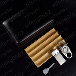 2019 cohiba zigarren feuerzeug Meistverkaufte COHIBA Zigarre Humidor Leder Cedar gefüttert Zigarre Fall Zigarette Humidor mit Cutter und Feuerzeug rabatt cohiba zigarren feuerzeug