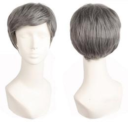 Kurze, lockige graue perücke online-Männer kurze Haare lockige Perücken synthetische hitzebeständige Faser graue Perücken Cosplay