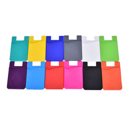 Wholesale Nice Cell Phones - 2017 1PCS Hot Sale Nice Fashion Adhesive Sticker Back Cover Card Holder Case Pouch For Cell Phone 12 Colors