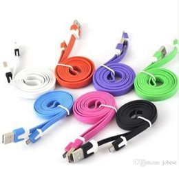 Wholesale Iphone Flat Usb Cable - 3m 10ft 2m 6ft 1m 3FT Noodle Flat Micro USB Cable Cables Cord Cords USB Charger V8 Charging Line for Android Samsung All phone 4 5 6