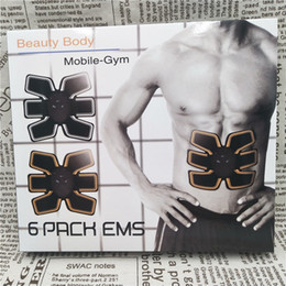 Wholesale Electronic Muscles Stimulator - 50pcs Fitness Muscle Toner And Abs Stimulator EMS Abdominal Trainer Electronic Wireless Toning Belt Ultimate Gym Training For Men Women