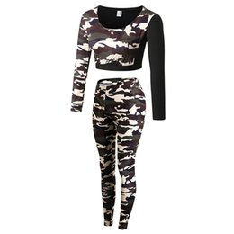 Wholesale Female Camouflage Clothing - Women Fitness Yoga Sports Female Camouflage Gym Tracksuit Workout Set Ladies Running Sportswear Jogging Clothes Sexy Costumes