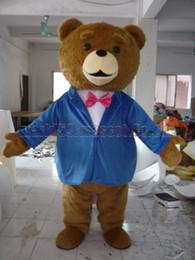 Anzugsmaskottchenkostüm des Teddybären blaues Freies Verschiffen erwachsene Größe, luxuriöse Plüschspielzeug-Karnevalspartei des Bären feiert Maskottchenfabrikverkäufe. von Fabrikanten