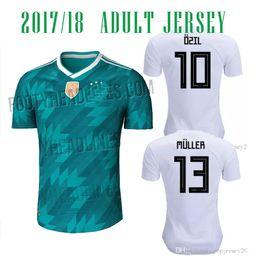 Wholesale Germany Black Jerseys - 2018 GERMANY AWAY GREEN Soccer Jerseys HUMMELS 17 18 OZIL HOME WHITE KROOS FOOTBALL SHIRT WERNER FUSSBALL-TRIKOT M.GOTZE JERSEYS