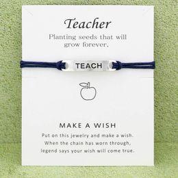 Wünsche schmuck online-Designer Armbänder Multi Farben Happy Teachers Day Card Charm Armbänder Unendlichkeit Wunsch Antik Silber Einstellbare Geschenke Schmuck Zubehör