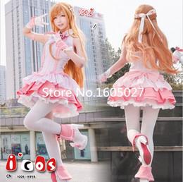 Wholesale yuuki asuna cosplay - Anime SAO Sword Art Online Yuuki Asuna Idol Ver Singer Pink Stage Lolita Dress Cosplay Costume Sword Art Online Party Clothing