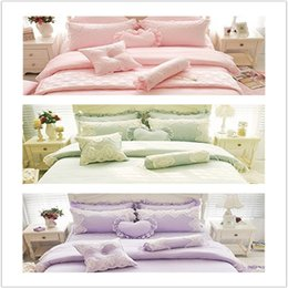Wholesale twin pink princess bedding duvet - WINLIFE Luxurious Pink Green Purple Princess Girls Bedding Sets Lace Ruffled Duvet Cover Set 4PCS 7PCS Queen