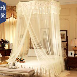 2019 ropa de cama princesa moderna Luxury lace palace mosquitera para cama tamaño queen queen king size para calidad de hogar mosquitero puerta cama doble, cama cortina