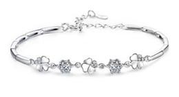 pulseras de plata simples para niñas. Rebajas S925 Pulsera de cristal de plata esterlina Joyería de lujo pulsera simple para mujeres / niñas Nueva moda libre de envío