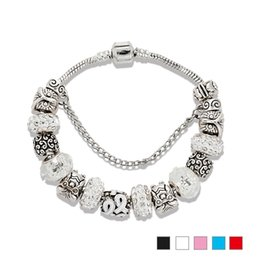 sterling silver black cubic zirconia Promo Codes - 925 Sterling silver plated Owl Charm Bracelets White Murano Glass Beads Snake Chain Bracelet with brand logo Jewelry Wholesale