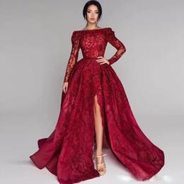 вестидос корсет фиесты Скидка Блестящее красное бальное платье Платья для выпускного вечера Бато шею с длинным рукавом с разрезом и блестками Бисероплетение Кружева Аппликация Вечернее платье с вечерним платьем