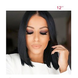 Wholesale Human Haircut - Fast Shipping Women Human Hair Lace Wig Brazilian Human Hair Lace Front 130% Density Bob Haircut Straight Wig Middle Part Black Short Bob