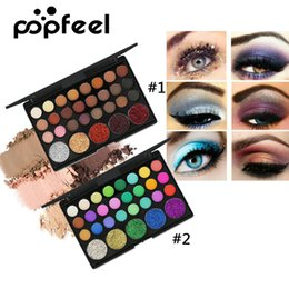 Wholesale bling eyes - Popfeel 29 Colors Eyeshadow Palette Matte Shimmer Glitter Nude Pigmented Metallic Finish Eye Shadow Bling Bling Eyeshadow 1203053