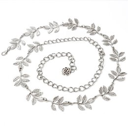 Wholesale golden flowers decorations - Gold Silver Belt Fashion Leaf Flower Decoration Jewelry Waistband Noble For Women Waist Body Chain Durable 12 5hj B