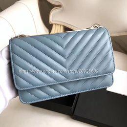 7A Cuero Genuino Woc Clutch Azul de piel de cordero Bolsa de hombro de moda con lentejuelas de oro 80982 Marca Mujeres Cadena Messenger Bag Mini Flap 33814 desde fabricantes