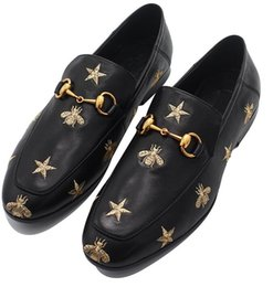 Wholesale breathable atmosphere - High - end atmosphere, real leather embroidery bee, real leather loafers, set foot - shoe leather shoes.Wedding Dress Shoes Boots 38-43e1