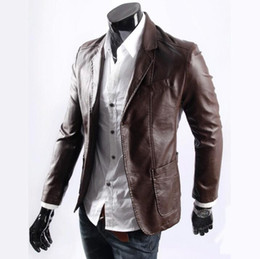 Wholesale Two Button Leather Jacket - 2018 New men's PU leather jackets Plus Size casual motorcycle suit washed micro elastic solid color two buckle Men Fashion jacket Coat M-7XL