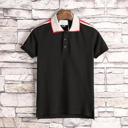 Wholesale Design Polo T Shirts - Runway Light Cotton polo with stripe t shirt for man New arrive Italy design brand contrast collar polo g t shirt men fashion poloshirt