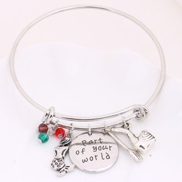 "Wholesale Mermaids World - whole saleLittle Mermaid""part of your world""Silver Bangle Bracelet with Ariel Crystals dinglehopper Snarfblat Kolye Bangle Ocean Jewelry"
