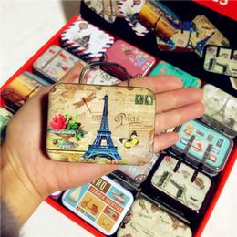 Wholesale Eiffel Tower Candy - 32pcs New 16 model Retro mini suitcase creative tin boxes Eiffel tower scenery coin storage box tinplate candy box
