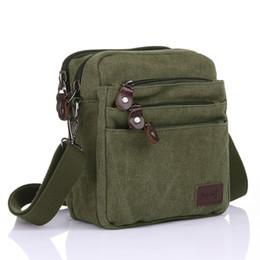 Sacchetto di messaggistica di stile militare online-2018 forte tela esercito uomini verde vintage crossbody bag piccola borsa a tracolla causale stile messenger uomo borse da viaggio bumbag