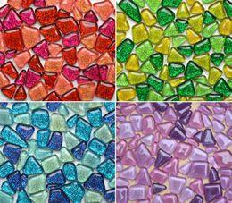 Nuevo jarrón de diseño online-Nuevo diseño Glitter Glass Mosaic Beads Mármoles planos Mosaico de vidrio irregular Azulejos para maceta Florero Linterna Acuario Jardín Decoración