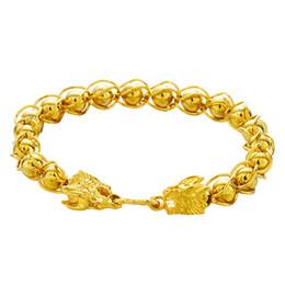 """Canada Bracelet lanterne perlé solide Bracelet pour homme motard punk or jaune rempli 7,87 """"chaîne de poignet haute poli Offre"""