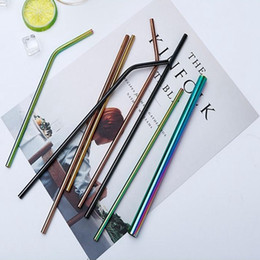 Regenbogen-Edelstahl-Strohhalme Mehrfarben-8,5-Zoll-umweltfreundliche Metallwiederverwendbare Trinkhalme für Becher-Schalen-Becher von Fabrikanten